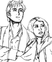 Doctor and Rose Christmas Sketch by Yusagi