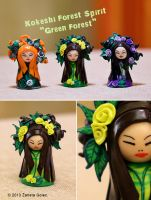 Liitle Kokeshi Green Forest by ZanetaGc