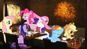 Mane 6 At A Restaurant by Macgrubor
