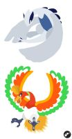 Ho-oh and Lugia by Nortiker