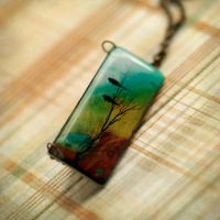 Autumn birds necklace by BeautySpotCrafts