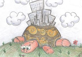Turtle with city by VanoNTP