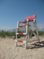 lifeguard chair and beach 0562 by Moon-WillowStock