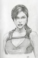 Lara pencil drawing by HenkkaArt