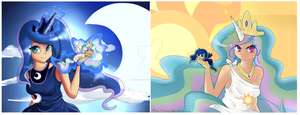 Princess Celestia And Luna by MissRenaKitsune