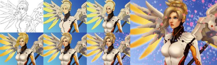 Mercy Painting Process by afurin