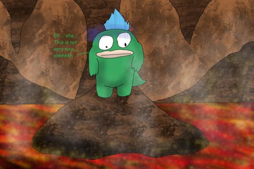 A Boopkin in a lava lake by kingofthedededes73