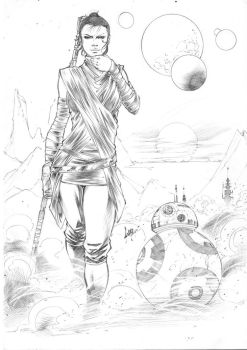 Rey and BB-8 - Sketch by CaioMarcus-ART