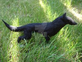 Needle felted Black wolf by Projectsubvert