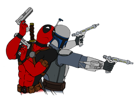 Deadpool and Jango Fett (Colored v2) by Ultroxmga