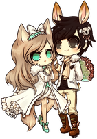 art trade -- whisker couple by onisuu