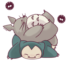 Totoro and Snorlax by SeviYummy