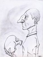 Old Man With Skull by JakeHGuy