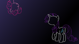 Pinkie invades  a Rarity Wallpaper by mehoep