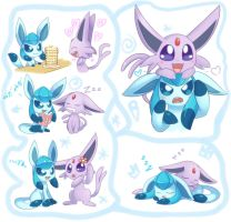 Glaceon and Espeon by Bukoya