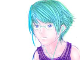 glasses girl with cyan blue hair by prime512