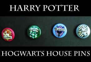 Harry Potter House Pins by AriesNamarie