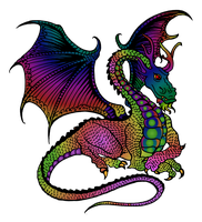 Rainbow Dragon PNG by clipartcotttage