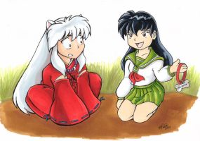 Kagome and Inuyasha Cuteness by Caliosidhe