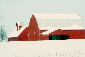 Red Barn With Fence by MoreThanNothing