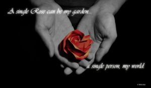 ORIGAMI: One red rose by Monsies
