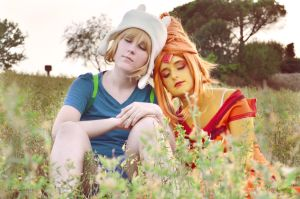 [Adventure Time] Finn and Princess Flame by YunaB-Rabbit