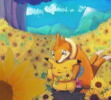 love and sunflowers by turusai