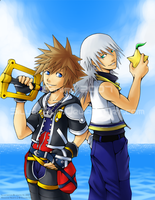 Sora and Riku Print by silverava