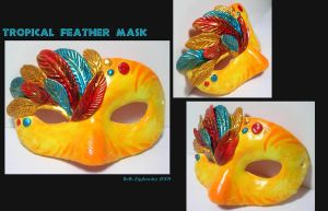 Tropical Feather Mask by SpaceTurtleStudios
