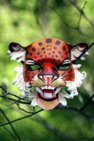 Onza, jaguar leather mask by Girhasha