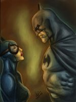 Batman And Catwoman Jim Lee Style Colour by dushans