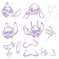 Stitch Part Sketches by kaykaykit