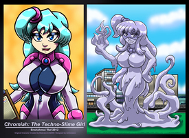 Chromiah the Techno-Slime Girl by Enshohma