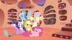 Wallpaper Mane6 watching you tube by Barrfind