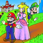 Mario Peach and Luigi by GenericAnime
