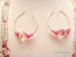 Pink and Clear Silver Set by TheSortedBead