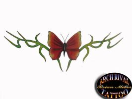 butterfly and vines by theothertattooguy