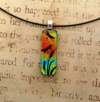 Mini Dragonfly Sunset Fused Glass Pendant by FusedElegance