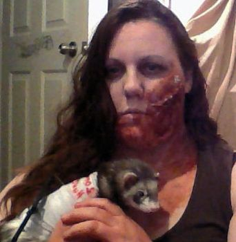 Zombie and little Zombie hunter.... by Lady-Branwyn