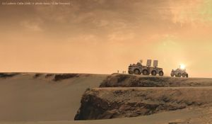 Mars rovers near a crater by Ludo38