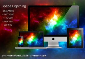 Space Lightning Wallpaper by TheMarchello