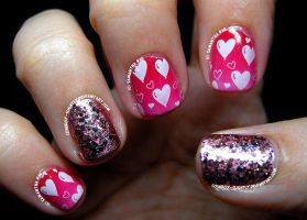 Valentine's Day: Glitter, Gradient and Stamping by Cowboy-Slightly