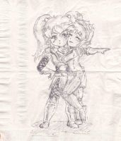 LoL - Poppy + Tristana Hug - Napkin Art by hiryurhys