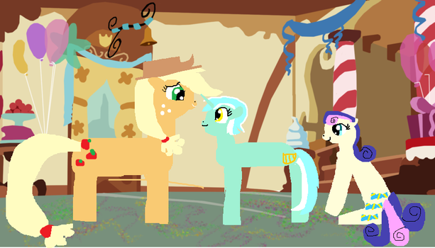 scence 7 aj chating with  Lyra and bonbon by biancaroseg