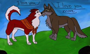 Balto and Jenna - Colored by Vlcek222