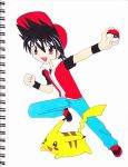 PKMN trainer red and pikachu by MarleneUrameshi