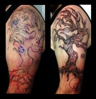 Freehand Fantasy Tree with Blossoms Tattoo by IanInkTattoo