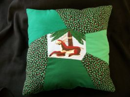 Handmade Patchwork Custom Holiday Deer Pillow by grandmoonma