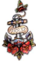 Anchor Rose Butterfly Old School Tattoo by Pompelina