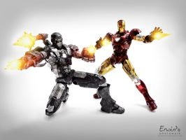 Ironman and Warmachine Battle Damage by WINDEARTFLY